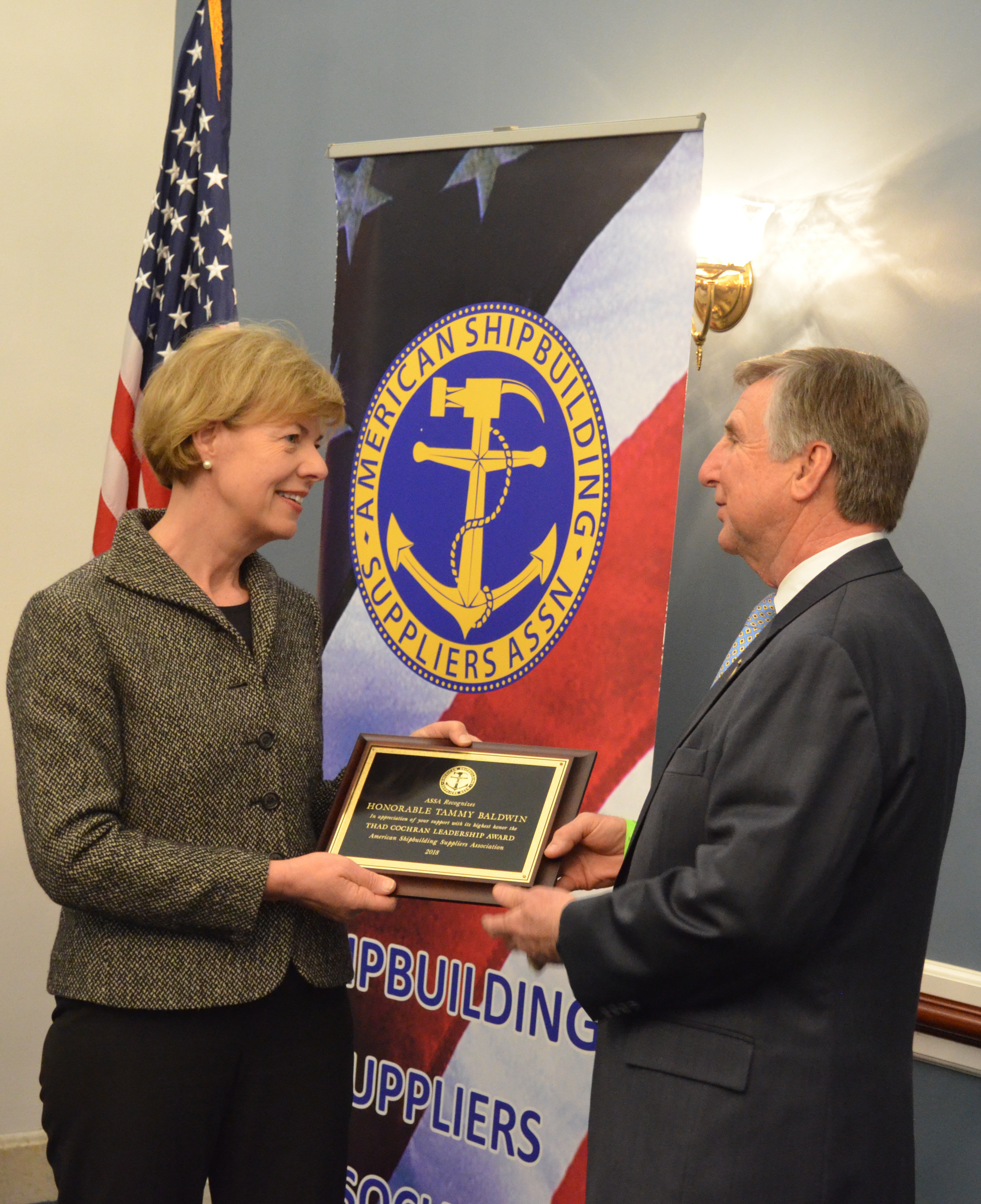 U.S. Senator Tammy Baldwin accepts the Honorable Thad Cochran Leadership Award from ___ on March 7, 2018. [Photo credit: Office of Senator Baldwin]