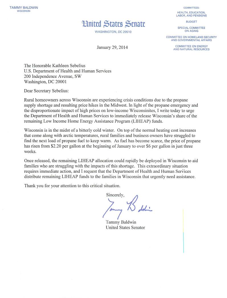 Release Of Funds Letter from www.baldwin.senate.gov