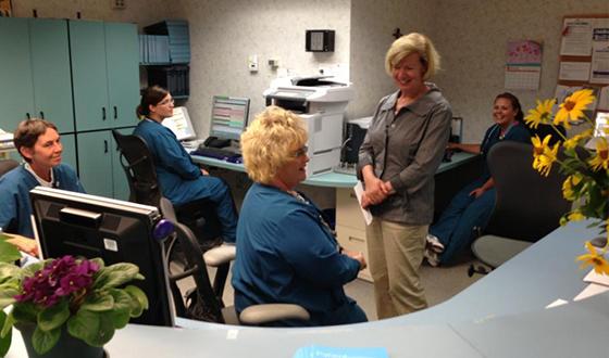 Senator Baldwin with nurses at hospital